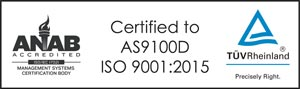 AS9100D and ISO9001:2015 certified company for aerospace and defense